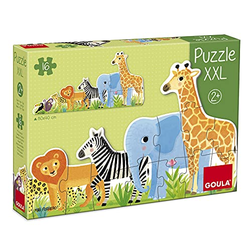 Goula- Puzzle XXL decreciente Selva - Puzzle de carton de piezas grandes para niños a partir de 2 años
