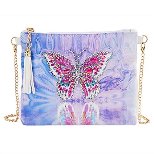 Puparlo Borsa a Tracolla da Ricamo Dipinta di Diamante 5D Diamante, Borsa alla Moda Borsa a Tracolla Elegante Casual Borsa a Croce, Portafoglio Cosmetici (Color : Butterfly, Size : 18 * 15cm)