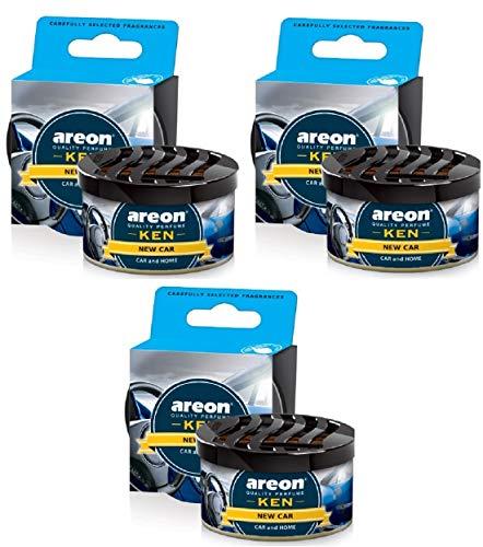 AREON Ken Ambientador de Coche Nuevo New Car Olor Aroma Azul Lata Debajo Asiento Aire 3D (Pack de 3)