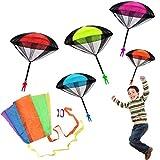 JiaHome paracaídas Set(6piezas),Paquete de 5 soldaditos con paracaidas y 1 Mini Cometa,excelente para niños y niñas