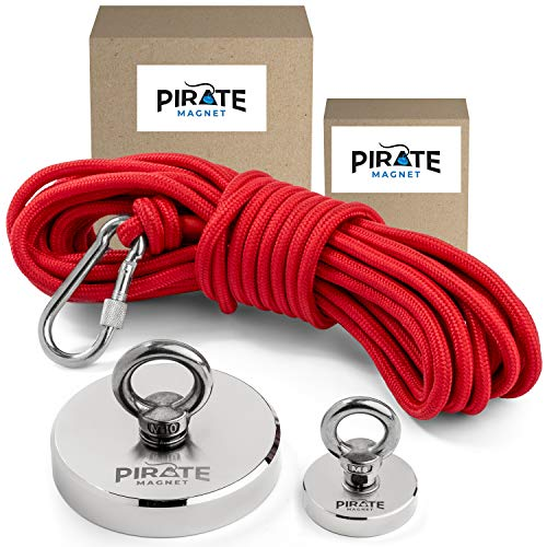 Pirate Magnet | Neodymium - Fishing Magnets Set | Magnet 662 LBS Pulling Force | Magnet 177 LBS Pulling Force | High Strength Red Rope + Carabiner Clip (Fishing Magnet Kit)
