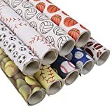 David Angie Ball Football Baseball Volleyball Printed Faux Leather Sheet 9 Pcs Assorted 8' x 13' (20 cm x 34 cm) Sports Theme Leather Fabric for Bags Earrings Making DIY Projects (Pattern A)