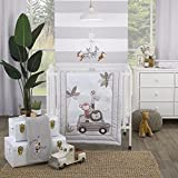 NoJo Jungle Ride Grey, White & Brown, Monkey, Giraffe & Lion 3Piece Nursery Mini Crib Bedding Set - Comforter, Two Fitted Mini Crib Sheets, Grey, White, Tan