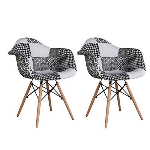 Casyva Juego de 2 sillas de Comedor Silla de Patchwork Diseño clásico Patchwork Sillón Retro Tela de Lino Ocio Sala de Estar Sillas de Esquina Sillas de recepción
