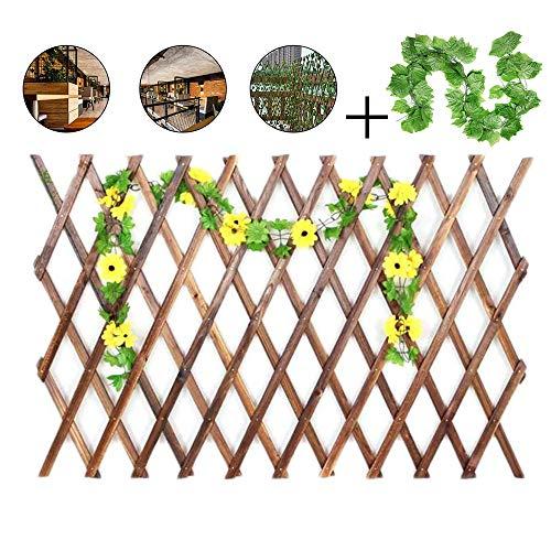 YOGANHJAT Celosía Madera para Jardin Enrejado Extensible Soporto bambú Valla Enrejado del...
