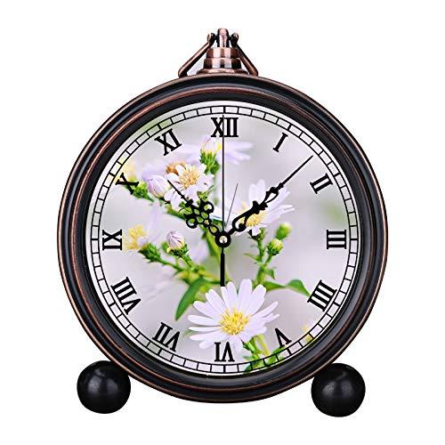 Makale Europese retro wekker, ronde, stille kwartsuur-eenvoudig hoofdeinde, digitale wekker-vakantiegeschenk, bel-wekker-afstudeertje, foto van de witte bloemblaadbloem met gele Stigma
