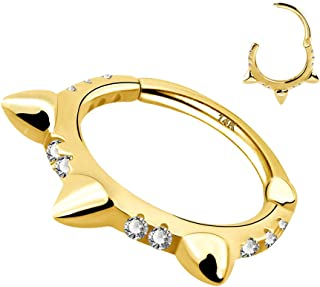 COCHARM 14K Solid Real Gold Hinged Ring 8mm Diameter Piercing Rings 16G Ear Hoops Daith Tragus Cartilage Segment Clicker R...