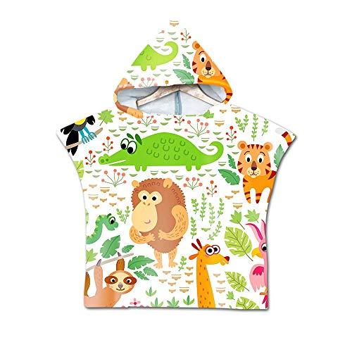 Badetuch mit Kapuze Kinder, DOTBUY Mikrofaser Handtuch mit Spaß Comic-Tiere Muster Badeponcho für Jungen und Mädchen,Wechselkleider Bademantel Strandtuch (60x80cm,D)