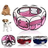 Trintion Pet Playpen 8-Panel Mesh House Fabric Dog Play Pen Puppy Foldable Pet Pens Outdoor Indoor use Large Size D49 inch x H20 inch Pink