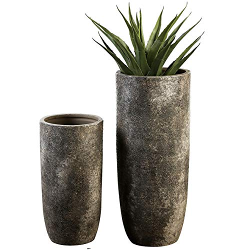 Casablanca - Bodenvase Guam Keramik grau/braun glasiert Antikfinish raue Oberflächenstruktur - Europäische Produktion -\'
