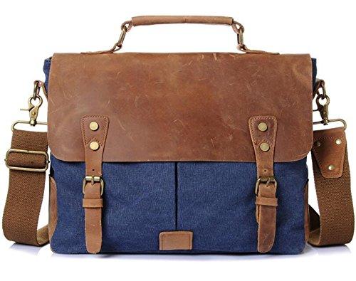 ZHANGOR mannen en vrouwen Crossbody Gek Paard Olie Wax Canvas Vintage Leer Schoudertas Computer Bag Briefcasezhangor, Blauw