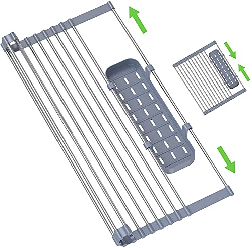 JHNEA Escurreplatos para fregadero de cocina, multifunción, plegable, con 1 soporte para utensilios