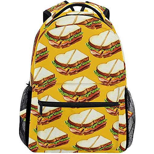 Daypack Ham Sandwich College Tassen Rugzak Casual Lichtgewicht Student School Reizen Duurzaam
