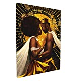 EZYES African Queen And King Black Crown Painting Abstract Modern Wall Art For Living Room Lovers Picture Afro Posters Prints Bathroom Modern Home Decor Canvas Artwork 12x16inch