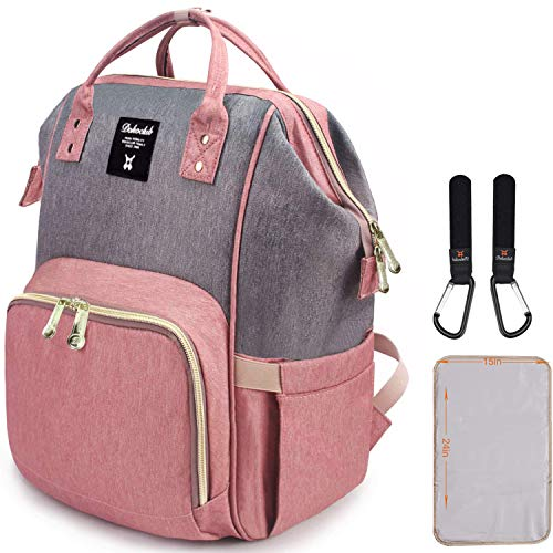 Diaper Bag Backpack, Dokoclub Organizer Baby Bags, Insulated Waterproof Travel Backpack, Large Capacity Tote Shoulder Nappy Bags for Mommy, Durable and Stylish (Grey & Pink)