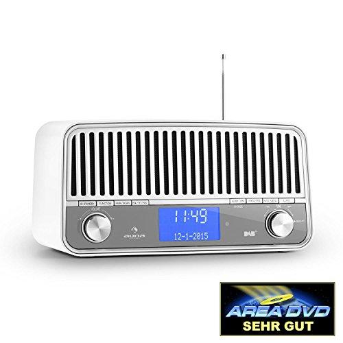 auna Nizza - Digitaladio, DAB+ / UKW-Tuner, RDS-Funktion, Vintage Look 50er Radio, Bassreflexgehäuse aus lackiertem Aluminium, 2 Breitbandlautsprecher Stereo mit Subwoofer, Bluetooth 2.1, weiß