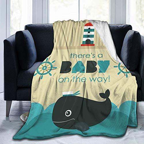 Manta mullida para bebé en el camino mensaje con temática marina con rueda de delfín, manta suave para dormitorio, cama de 127 x 101 cm