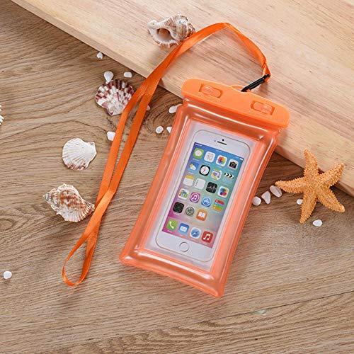 min 6 Pouces Sac Gonflable Flottant Sac de Natation étanche Poche de téléphone Portable étui de téléphone Portable pour Nager plongée Surf Plage Utilisation, Orange
