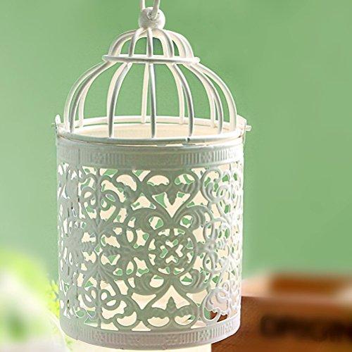 ZI LING SHOP- Romantique Européen Fer Blanc White Birdcage Candle Holder Mini Décoration de lumières de mariage Décorations Home Craft Decorations