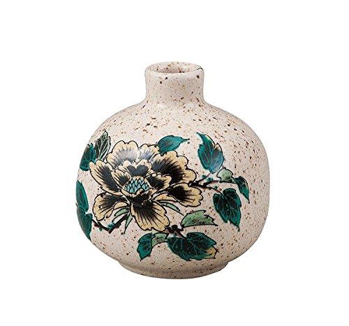 Japonés tradicional Kutani-yaki cerámica jarrón nº 3una flor de peonía flor florero amarillo K4–1252