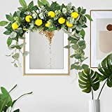 Artificial Flower Swag with Lemon Blueberry and Leaves,18 Inch Fruit Wreath,Faux Greenery Floral Swag for Front Door Lintel Home Wedding Decoration