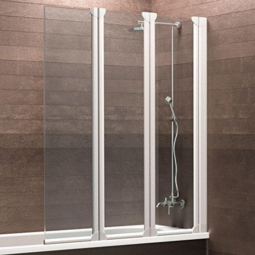 Schulte Badewannenaufsatz Duschabtrennung Badewanne Köln 3-teilig, 124 x 130 cm, Sicherheitsglas klar, Profile alpin-weiß
