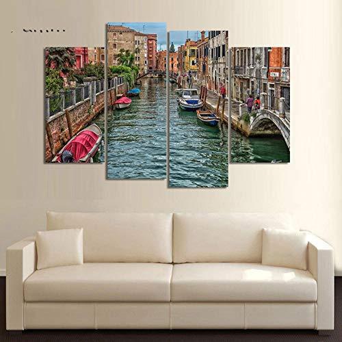 ANTAIBM® 4 Wandkunst-Malplakat Holzrahmen - verschiedene Größen - verschiedene Stile4 Stück moderne Leinwand Malerei Wandkunst Italien Venedig Landschaft Ölgemälde Schöne Stadt Fluss Dekoratives Bild