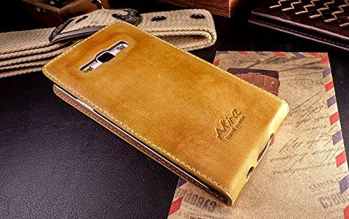 Urcover Akira Hand Made [Echt Leder] Handyhülle kompatibel mit Samsung Galaxy A5 (Version 2015) Wallet Flip Cover Handgemacht Case Schutzhülle Etui Flip Wallet Pen Braun