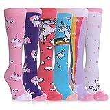 SDBING 3-12 Years Old Girls Knee High Socks Kids Cute Funny Animal Pattern Long Boot Socks 6 Pairs (6 Pairs Pink Unicorn, 3-12 Years Old)