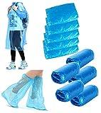 ssyang 5 pezzi poncho antipioggia monouso,impermeabile riutilizzabile rain cappotti con cappuccio,con 5 copriscarpe antipioggia antiscivolo per escursionismo,viaggio,campeggio,ciclismo