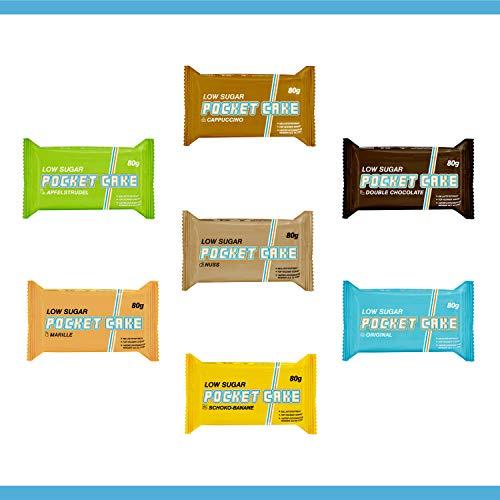 Pocket Cake by EC - MIX Box 15x 80g – Haferflockenriegel | Low Sugar - More Energy | Veganer Energieriegel mit wenig Zucker, vielen Kohlenhydraten und noch mehr Geschmack! Power für den Alltag