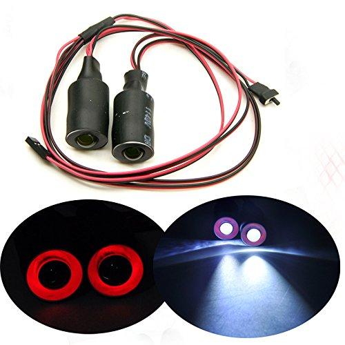 17mm 2 LEDs Angel Eyes Light Licht Scheinwerfer/Rücklicht für 1:10 RC Crawler Car (Rot + Weiß)