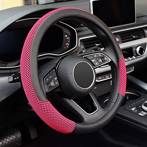 KAFEEK Steering Wheel Cover, Universal 15 inch, Microfiber Leather Viscose, Breathable, Anti-Slip,Warm in Winter and Cool in Summer, Black