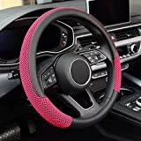 KAFEEK Steering Wheel Cover, Universal 15 inch, Microfiber Leather Viscose, Breathable, Anti-Slip,Warm in Winter and Cool in Summer, Black&Red