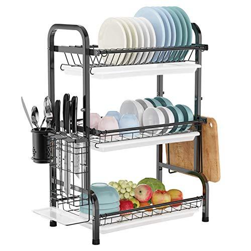 Impetus 水切りラック 3段式 304ステンレス製 大容量 食器 水切りかご スライド式 箸立て 包丁スタンド まな板立て キッチン収納 組み立て簡単 (ブラック)