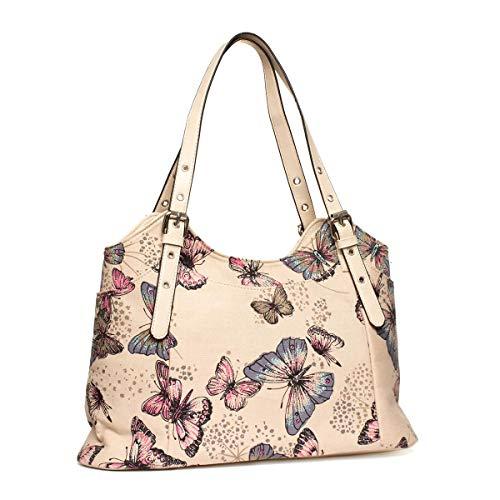 Lilley Beige Butterfly Printed Handbag - Size 1 UK - Beige