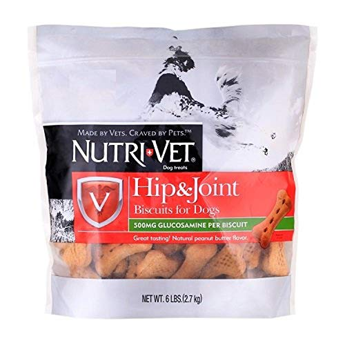 Nutri-Vet Hip & Joint Dog Supplements | Formulated with Glucosamine | Peanut Butter Flavored Biscuits