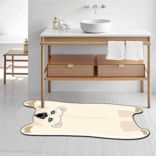 Alfombra ovalada irregular elegante moderna con patrón de oso animal alfombra suave, para sala de estar, dormitorio, cocina, guardarropa, silla, alfombra, sofá, cabecera, habitación de niños, blanco-
