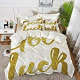 Yaoni Set Biancheria da Letto,Set Copripiumino in Microfibra con Federa,Going Away Party Decorations, Good Luck Wish Note Scritto a Mano Le,1 Copripiumino 240 x 260cm + 2 federe 50 x 80 cm