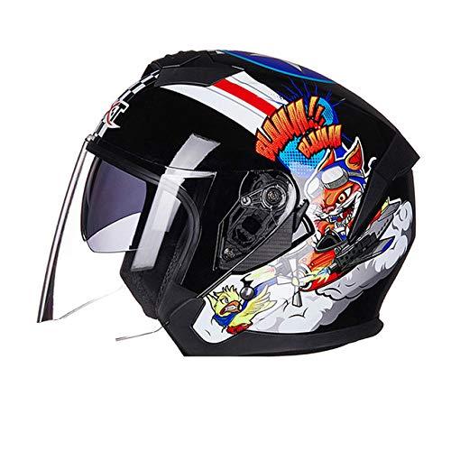 Mdsfe Casco da moto estivo aperto doppia lente casco da moto scooter crash casco moto design leggero riduce il rumore del vento - 522 Bright RB X XL