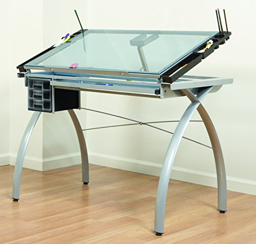 SD STUDIO DESIGNS Futura Modern Glass Top Adjustable Drafting Table Craft Table Drawing Desk Hobby Table Writing Desk Studio Desk with Drawers, 38''W x 24''D, Silver / Blue Tempered Glass
