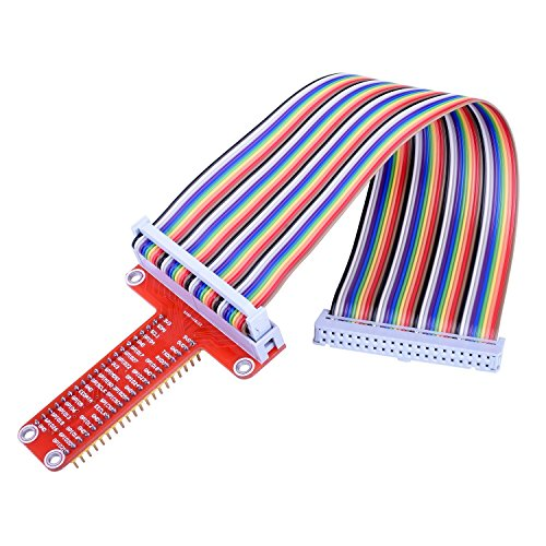 Kuman RPi GPIO Breakout Expansion Board + Ribbon Cable + Assembled T Type GPIO Adapter 20cm FC40 40pin Flat Ribbon Cable for Raspberry Pi 3 2 Model B & B+ SC05