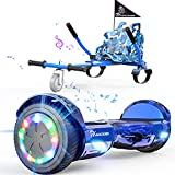 EVERCROSS Hoverboard, Hoverboard for Adults, Hoverboard with Seat Attachment, 6.5' Hover Board Self Balancing Scooter with Bluetooth Speaker & LED Lights, Suit for Adults and Kids (Blue)