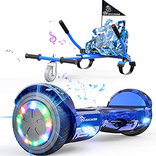 """EVERCROSS Hoverboard, Hoverboard for Adults, Hoverboard with Seat Attachment, 6.5"""" Hover Board Self Balancing Scooter with Bluetooth Speaker & LED Lights, Suit for Adults and Kids (Blue)"""