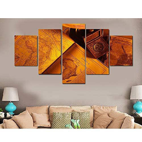 Zhuhuimin schilderij modulaire afbeelding wandschilderij type 5 stuks/set papier boeken oude Afrikaanse canvas kunst in huis moderne decoratie woonkamer L-30x40 30x60 30x80cm Kein Rahmen
