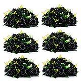 Nuptio Roses Noires Fleurs Artificielles 6 Pièces Faux Bouquet de Fleurs Fleurs D'hortensia Noires Artificielles, 15 Têtes de Fausses Roses avec Base, Vraies Fleurs Artificielles Noires