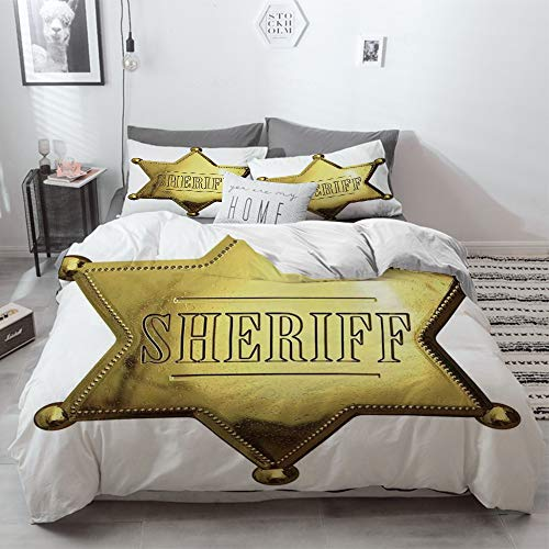 3 Piece Duvet Cover Set No Wrinkle Ultra Soft Bedding Set,Western,Vintage Vivid Golden Looking Lawmaker Sherrif Symbol With White Background,Whit,2 pillowcase 50 x 75cm 1 Pc Bed sheet 230 x 220cm