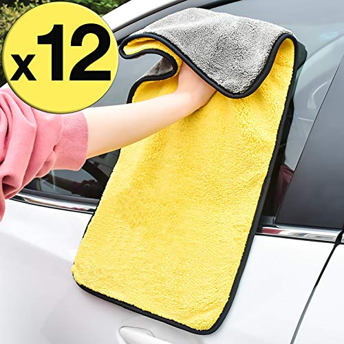 GreatCool Car 24'' x 12'' Large Microfiber Cleaning Cloth Drying Towel Scratch-Free Lint Free Auto Wash Detailing for Cars, SUVs, RVs, Trucks, Boats and Home Polishing Washing and Detailing -12 Pack