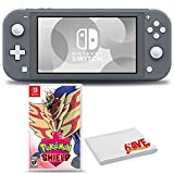 Nintendo Switch Lite (Gray) Bundle with 6Ave Cleaning Cloth + Pokemon Shield
