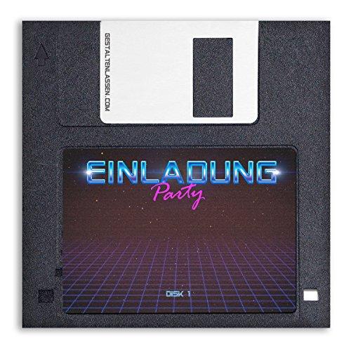 (10 x) Einladungskarten Geburtstag Diskette Floppy Disk Vintage witzig Einladungen